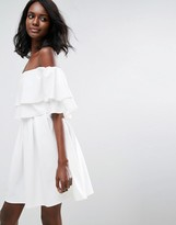 Asos Ruffle Off Shoulder Mini Dress