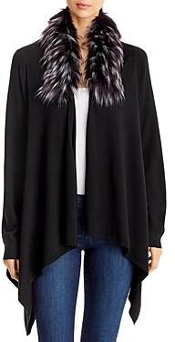 Sioni Faux-Fur-Collar Open Cardigan