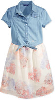 GUESS Denim-Top Floral-Print Dress, Big Girls (7-16)