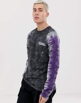 Volcom Computer crash tie dye long sleeve t-shirt in black