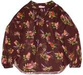 Greta Lame Flower Print Sheer Blouse