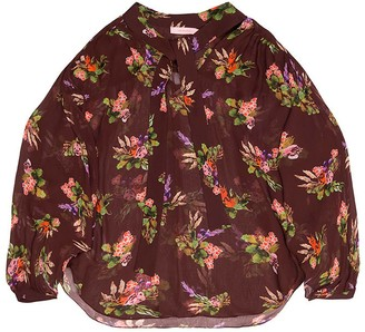 Tomcsanyi Greta Lame Flower Print Sheer Blouse