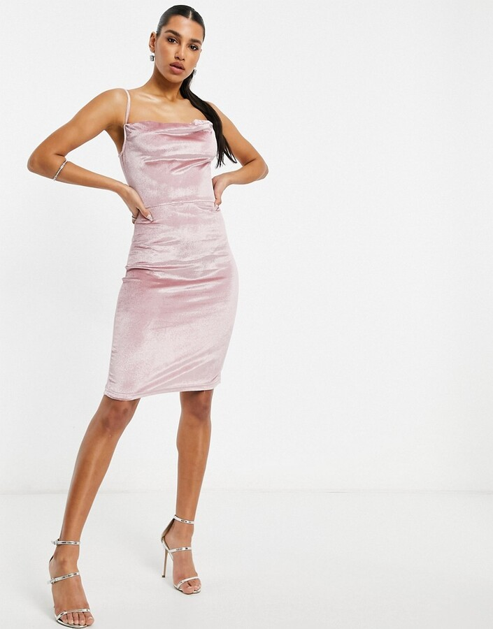 Thumbnail for your product : Parisian velvet cami strap midi dress with cowl front in light pink