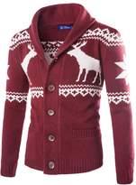 Minibee Men' Deer Chritma Knittedweater Cardigan