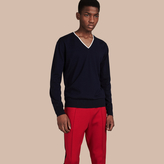 Burberry Contrast Trim Wool V-neck Sweater