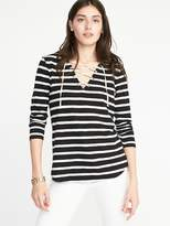 Old Navy Relaxed Lace-Up Mariner-Knit Top for Women