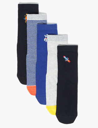 Marks and Spencer 5 Pack Cotton Space Embroidered Socks