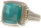 Judith Ripka Sterling Silver Teal Triplet Cushion Vintage Wide Band Ring - Size 7
