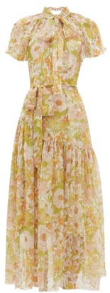 Zimmermann Super Eight Floral-print Silk-chiffon Dress - Womens - Pink Multi