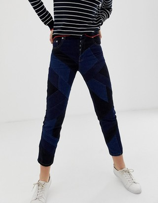 Asos Design DESIGN Florence authentic straight leg jeans in with cut about patch work detail in dark wash-Blue