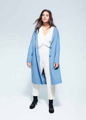 MANGO Violeta BY Slim-fit pleated flowy pants ecru - S - Plus sizes