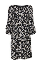 Wallis Black Daisy Print Flute Sleeve Shift Dress