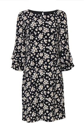 Wallis Black Daisy Print Flute Sleeve Shift Dress