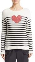 RED Valentino Striped Heart Sweater