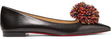 Christian Louboutin Konstantina Pompom-embellished Leather Point-toe Flats - Black