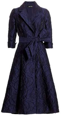 Teri Jon By Rickie Freeman Belted Jacquard Shirtdress