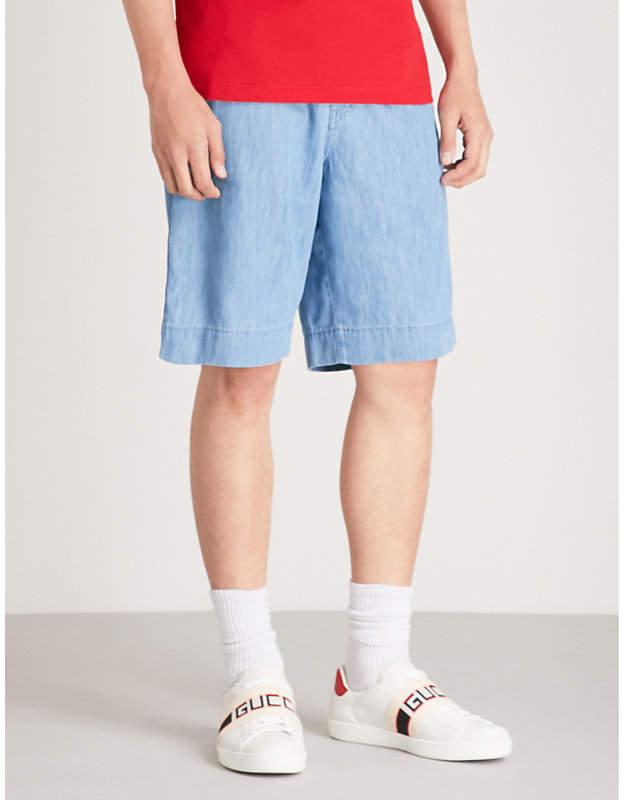 Gucci Side-stripe denim shorts