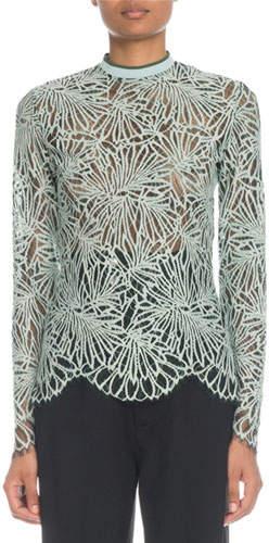 Proenza Schouler Mock-Neck Long-Sleeve Printed Lace Blouse