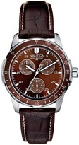 Nautica Men's Stainless Steel Brown Leather Strap Analog Watc