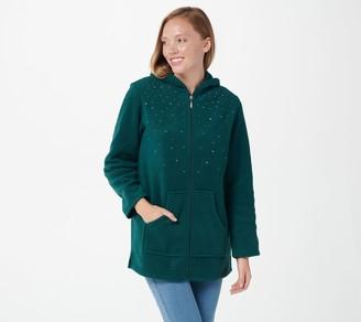 Quacker Factory Embellished Fleece Zip Front Jacket