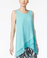 Alfani Petite Crossover-Hem Swing Top, Only at Macy's