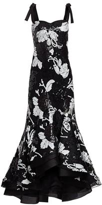 Silvia Tcherassi Evangeline Sequin Floral Ruffle Gown
