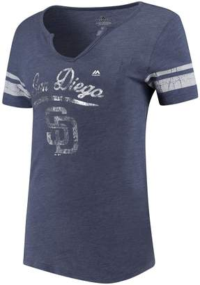 Majestic Woman's Heather Navy San Diego Padres Spirit Awareness V-Neck T-Shirt