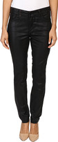 NYDJ Petite Petite Alina Leggings Jeans in Faux Leather Coating in Black/Grey Leather Coating