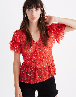 Madewell Tiered-Sleeve Peplum Top in Metallic Prairie Posies