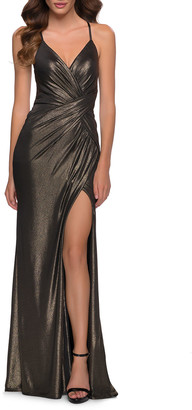La Femme Metallic Jersey Ruched Gown with Slit