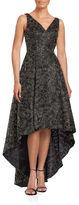 Calvin Klein Embroidered Metallic Sleeveless Hi-Lo Gown