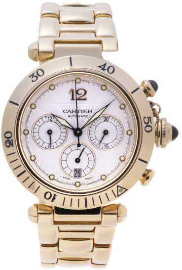 Cartier Pasha 2111 18K Yellow Gold Automatic Chronograph 38mm Mens Watch
