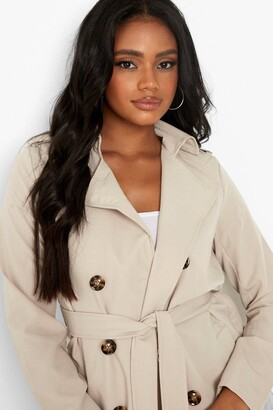 boohoo Petite Button Detail Cropped Trench Coat