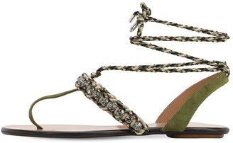 Aquazzura 10mm Surf Suede & Rope Thong Sandals