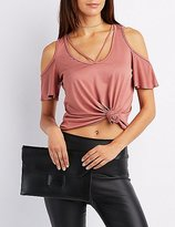 Charlotte Russe Strappy Cold Shoulder Tee