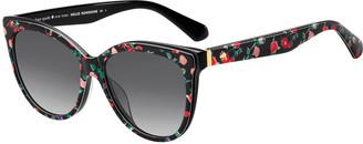 Kate Spade Daeshas Round Polarized Acetate Sunglasses, Black
