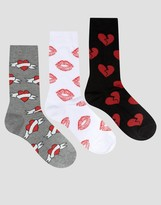 Asos Socks With Heart Design 3 Pack
