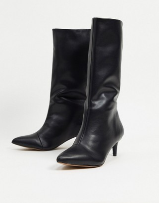 ASOS DESIGN Roberts pull-on mid-heeled boots in black