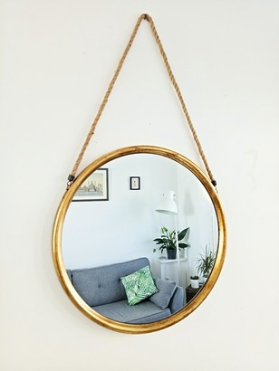 Inle Home - Large Round Gold Mirror with Hanging Rope