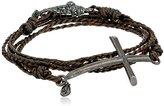 M.Cohen Handmade Designs Silver Cross On Triple Wrap Brown Braided Wax Cord Bracelet