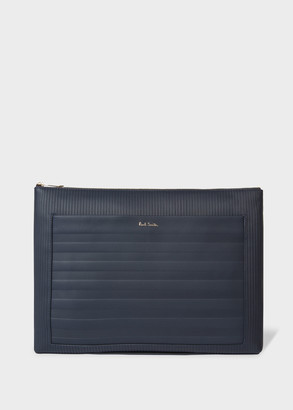 Paul Smith Navy Striped Emboss Leather Document Pouch
