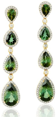 Artisan 18Kt White Gold Pear Shape Green Tourmaline Drop Dangle Earrings Pave Diamond Women Jewelry