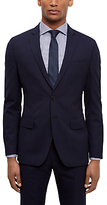 Jaeger Wool Shadow Check Slim Fit Suit Jacket, Navy