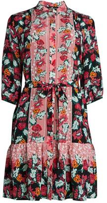 Saloni Trya Floral Silk Shirtdress