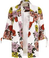 River Island Womens White floral print tie cuff blazer