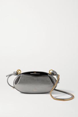 Yuzefi Dinner Roll Metallic Leather Shoulder Bag - Silver