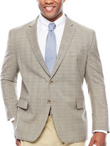 STAFFORD Stafford Yearround Stretch Brown Blue Check Sport Coat-Big and Tall