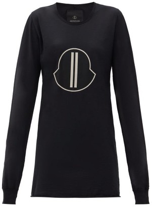 Moncler + Rick Owens Logo-print Cotton-jersey Long-sleeved T-shirt - Black