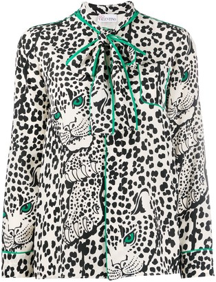 RED Valentino Leopard-Print Pussy-Bow Blouse