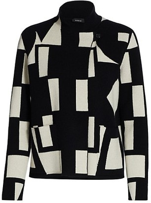 Akris Abstract Knit Cashmere Cardigan